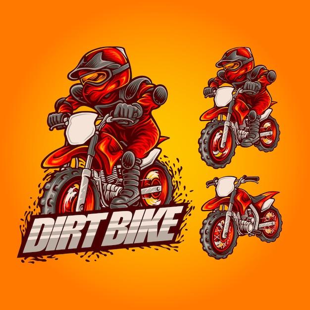 Dirt bike mascot logo illustration on set Premium Vector