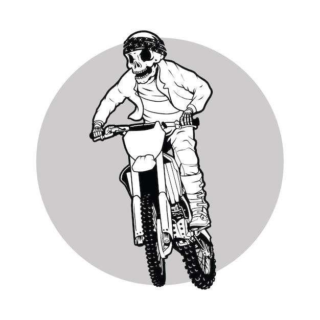 Dirt bike,motocross rider skull Premium Vector