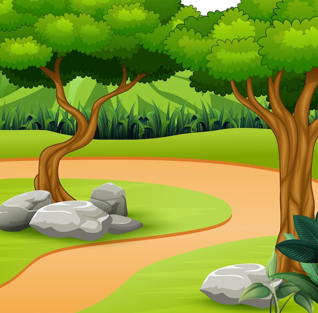 A dirt path in the nature background Premium Vector