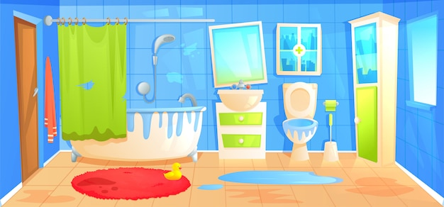 Dirty bathroom design interior room with ceramic furniture background template. Free Vector