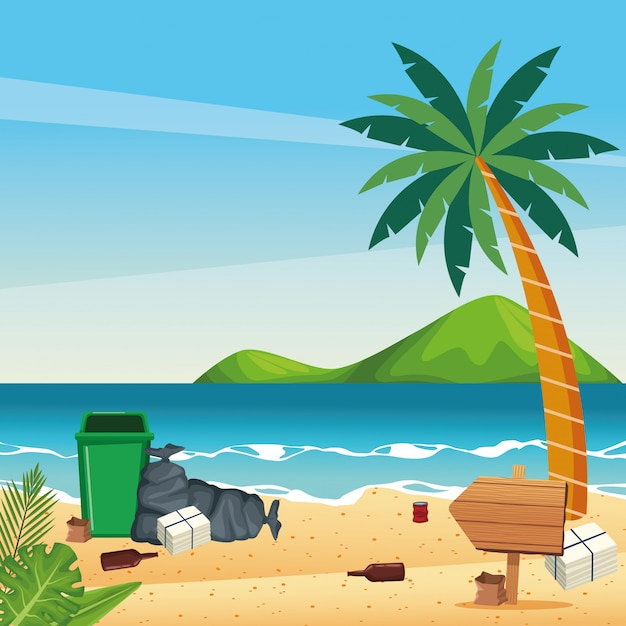 Dirty beach with cans and bottles Premium Vector
