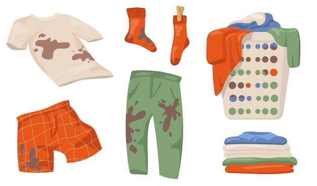 더러운 옷 세트. 진흙 반점이있는 티셔츠와 양말, 세탁 바구니에있는 옷 더미, 고립 된 깨끗한 린넨. 가사, 청결 개념에 대한 평면 벡터 일러스트 무료 벡터