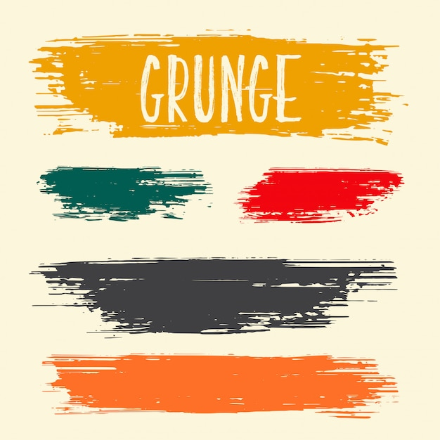 Dirty grunge brush paint stroke collection design Free Vector