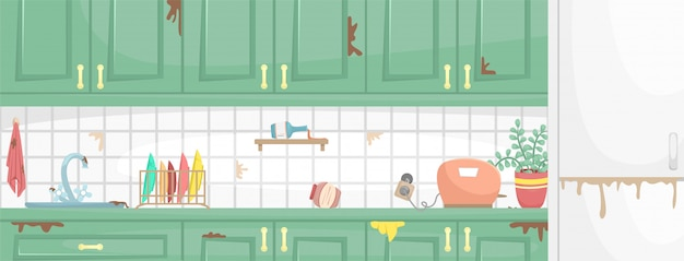 Dirty kitchen interior with wooden cabinets. dirty sink and dish, broken socket. flat illustration. Premium Vector