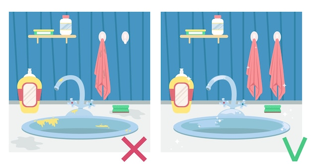Dirty kitchen sink and clean sink. illustration before and after. housework. Premium Vector