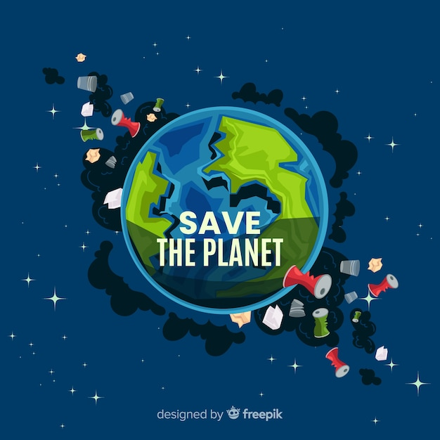 Dirty planet earth cartoon background Free Vector