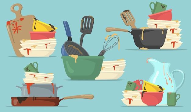 웹 디자인을위한 더러운 접시와 컵 플랫 세트. 격리 된 벡터 일러스트 컬렉션을 세척을위한 만화 부엌 빈 요리. 가정 및 주방 개념 무료 벡터