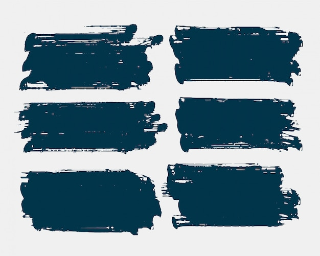 Dirty rectangle shape grunge brush stroke set Free Vector