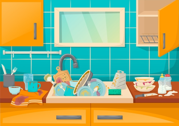 Dirty sink with kitchenware of modern kitchen with furniture and utensils Premium Vector