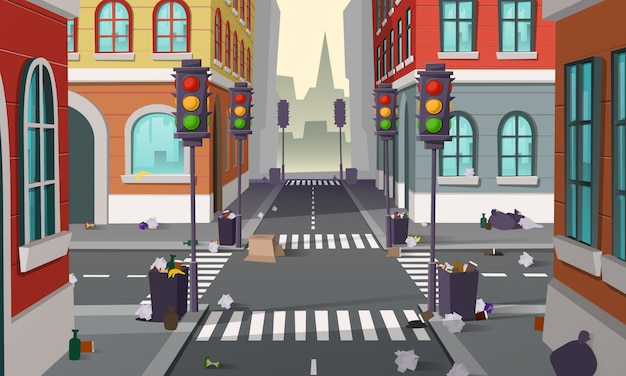 Dirty street with garbage all around, vector background. empty city crossroad with traffic lights an Free Vector