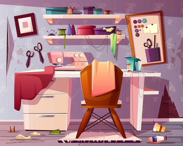 Dirty tailor room, handicraft or needlework area with trash, rubbish. Free Vector
