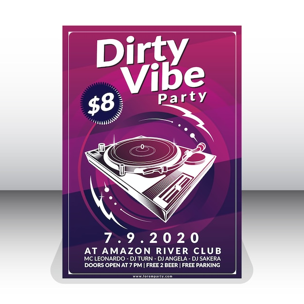 Dirty vibe party poster template Premium Vector