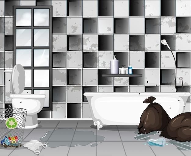 Dirty with rubbish bathroom scene Premium Vector
