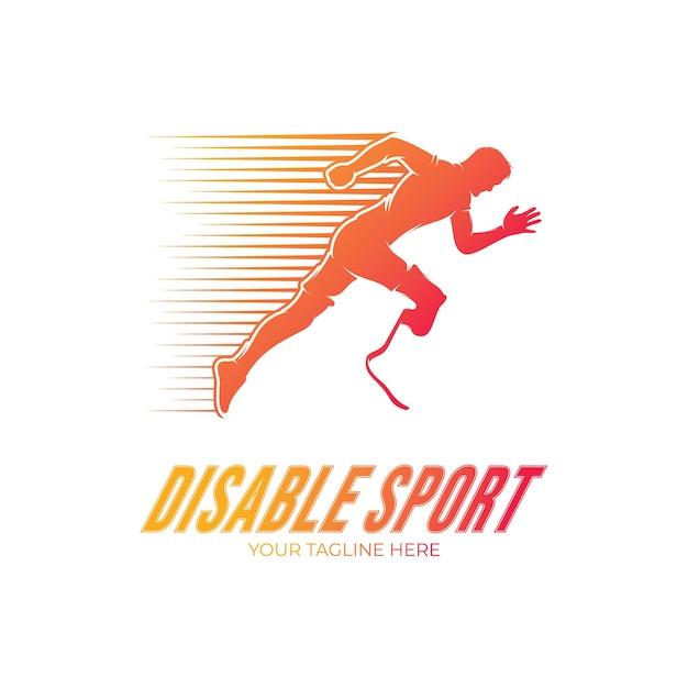 障害者ランナースポーツ競技のロゴデザイン Premiumベクター