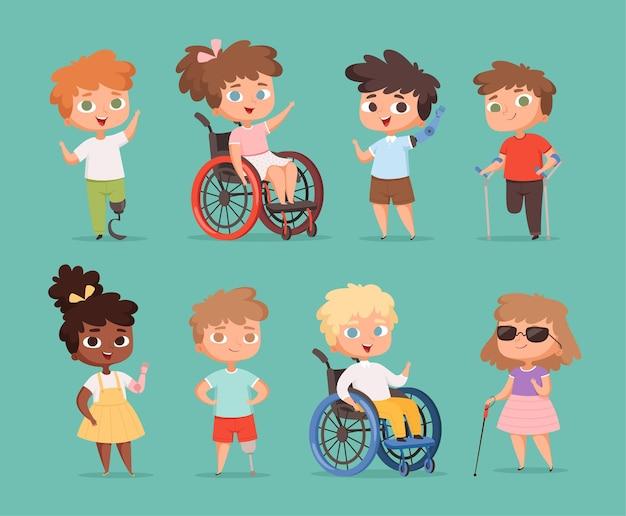 障害児。車椅子に座っている子供たちは、学校の漫画のイラストで小さな人を障害しました。 Premiumベクター