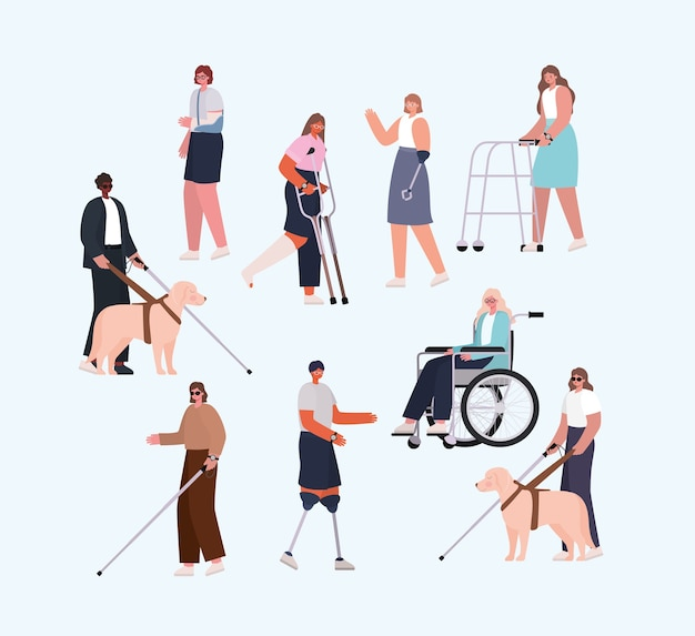 Disability people cartoons with wheelchair prosthesis and cast of inclusion diversity and health care theme. Premium Vector