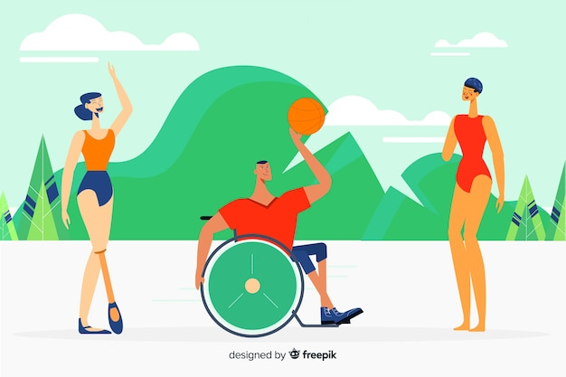 Disabled athletes hand drawn characters Free Vector