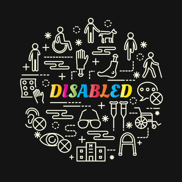 Disabled colorful gradient with line icons set Premium Vector