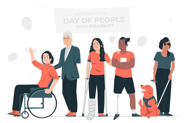 Disabled dayconcept illustration Free Vector