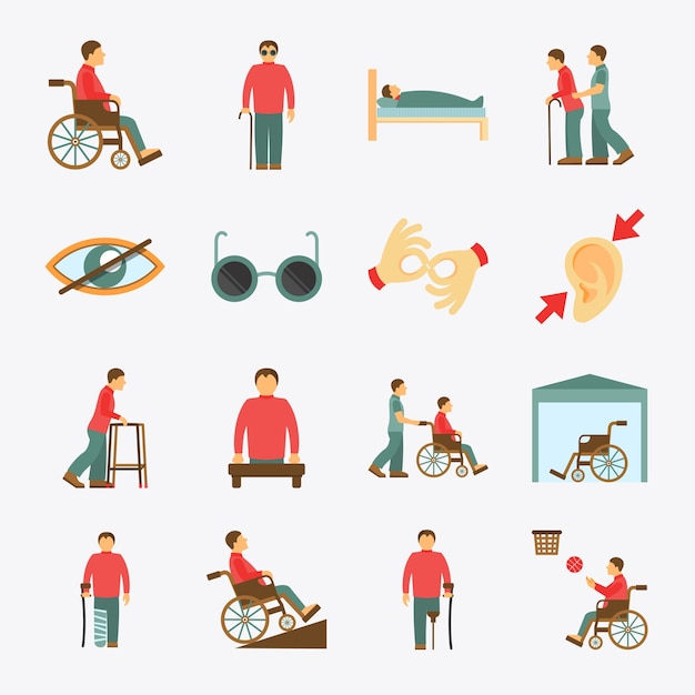 Disabled icons set flat Free Vector