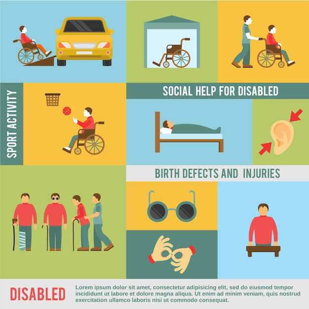 Disabled icons set Free Vector