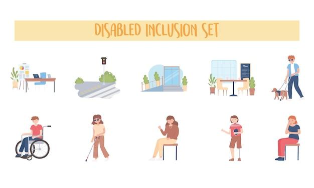 장애인 포함 세트 사람들 활동 작업 걷는 만화 일러스트 레이션 프리미엄 벡터