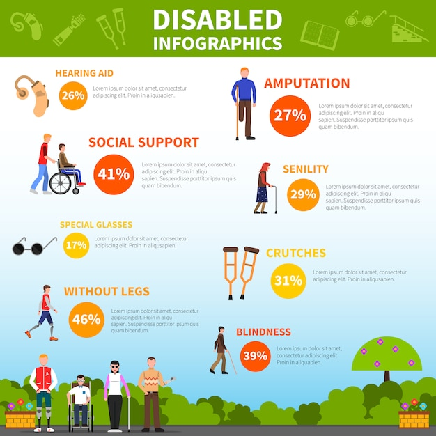 Disabled infographics layout Free Vector