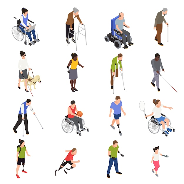 Disabled injured people outdoor activities isometric icons set with sporting limb amputees moving using wheelchair Free Vector
