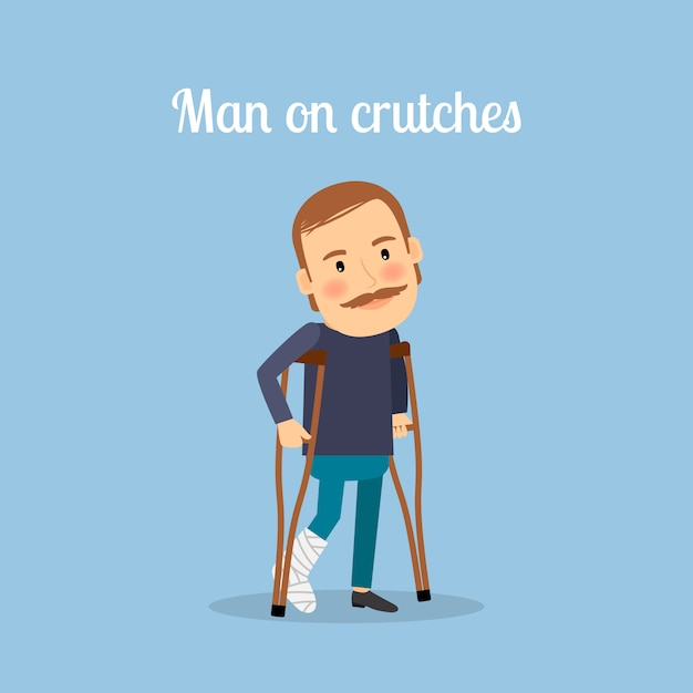 Disabled man on crutches Premium Vector