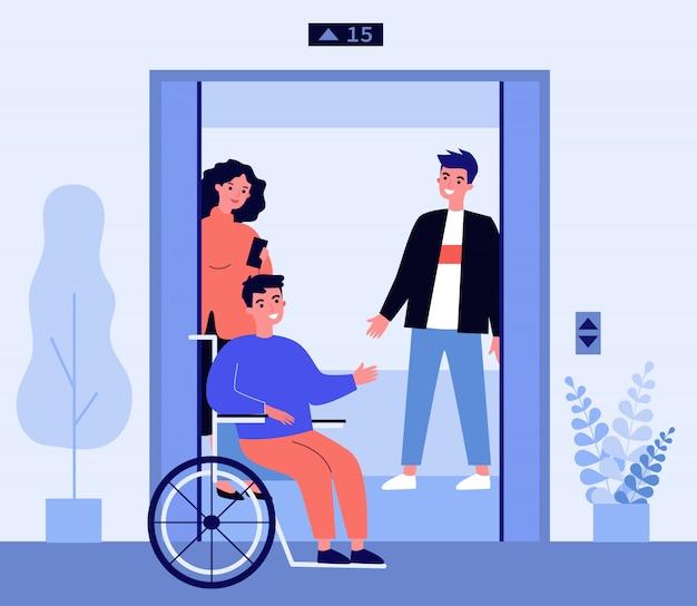 엘리베이터 오두막에 점점 장애인 된 남자 프리미엄 벡터