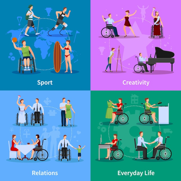 Disabled people active life Free Vector