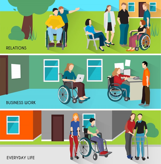 Disabled people banners set Free Vector