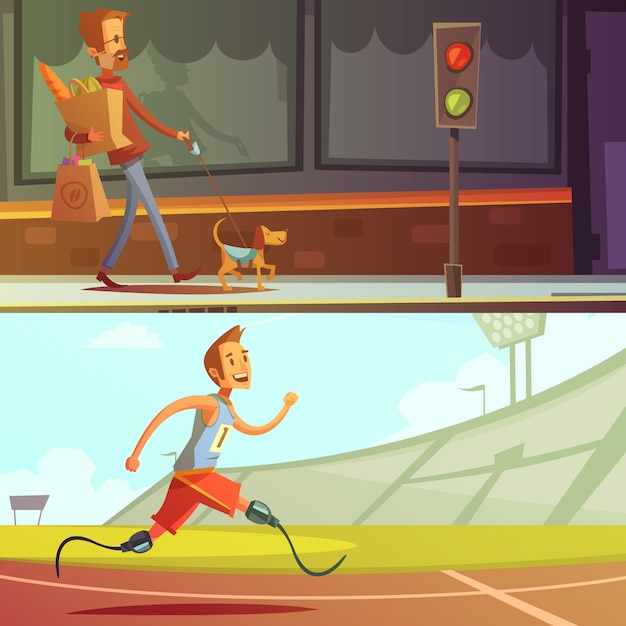 Disabled people blind man with dog and runner Free Vector