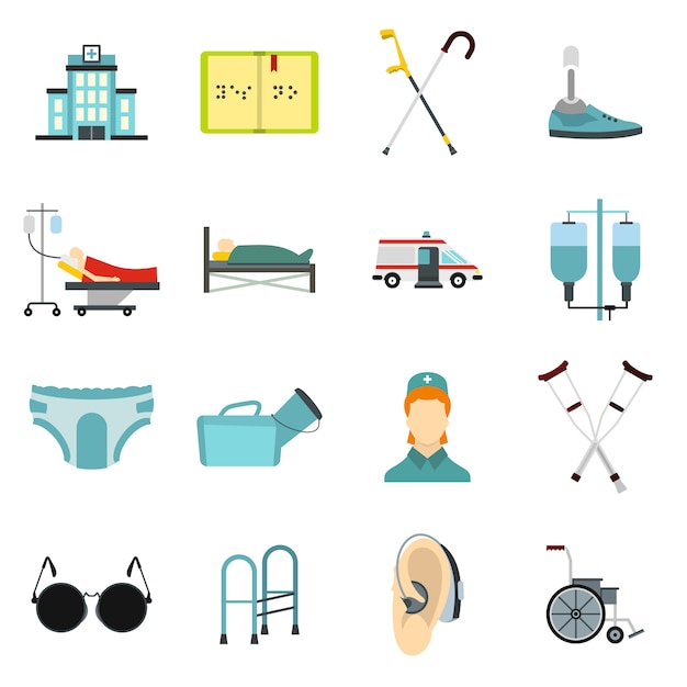 Disabled people care icons set Premium Vector