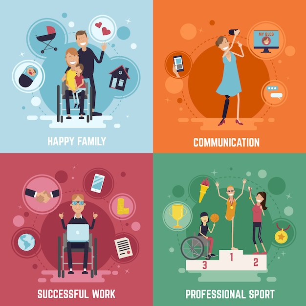 Disabled people concept icons set Free Vector