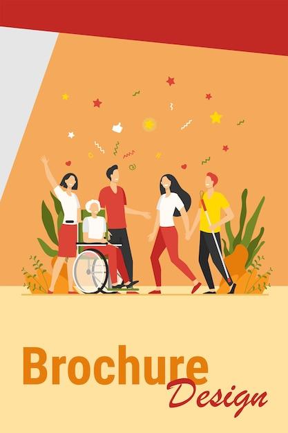 障害者の助けと多様性。杖を持っていて、友人やボランティアと車椅子で会っている障害者。障害、支援、多様な社会の概念のベクトル図 無料ベクター