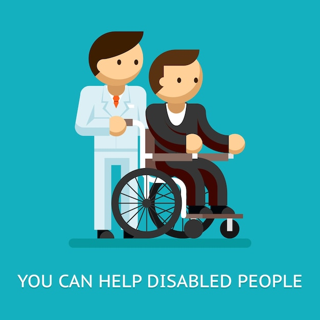 障害者は概念を助けます。医療とケアと車椅子。 無料ベクター