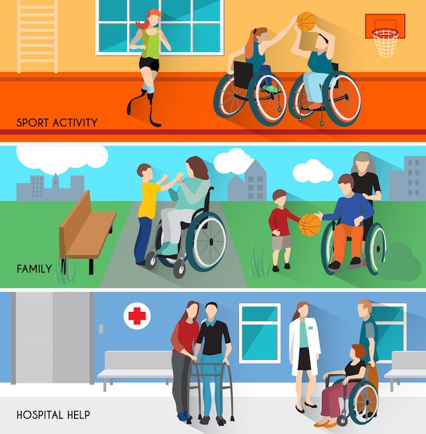 Disabled people horizontal banners set Free Vector