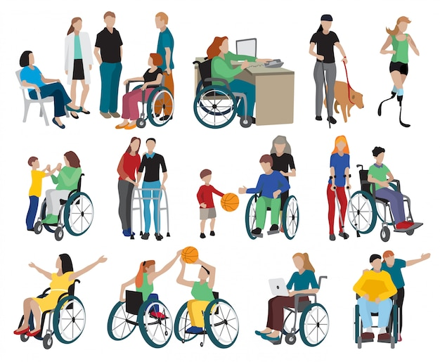 Disabled people icons set Free Vector