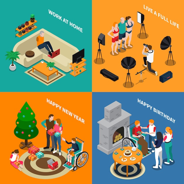Disabled people isometric compositions Free Vector