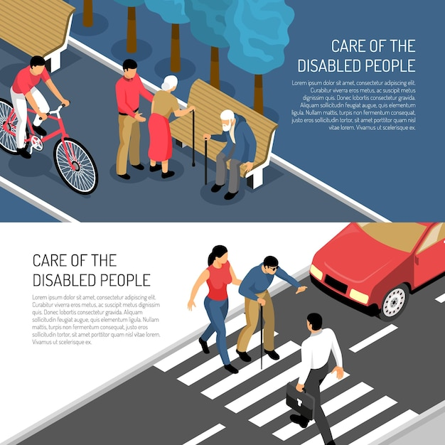 Disabled people isometric horizontal banners assistance to elderly and blind persons isolated Free Vector