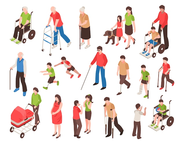 Disabled people isometric set Free Vector
