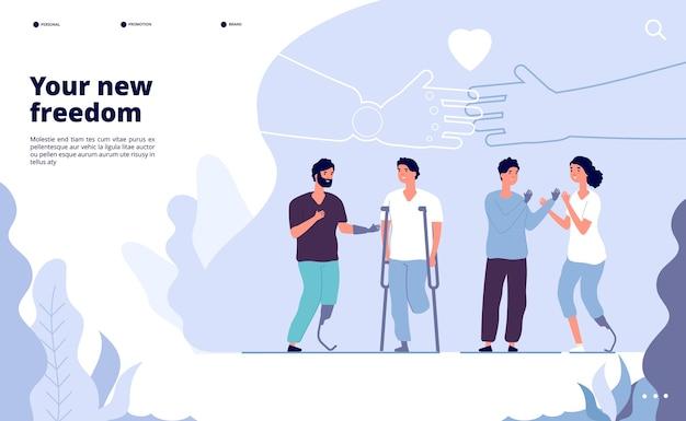 Посадка инвалидов. международный день людей с ограниченными возможностями. протез дает вам новую возможность. векторный дизайн международного всемирного дня людей с инвалидностью иллюстрации Premium векторы