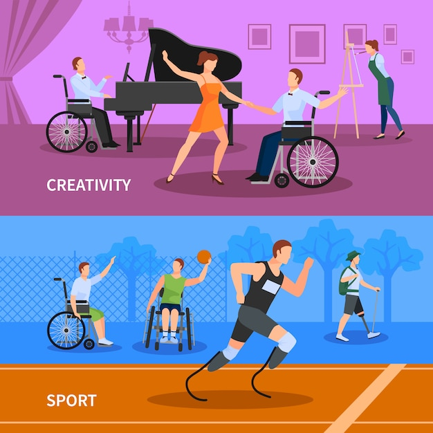 Disabled people practicing sport and leading full creative life Free Vector