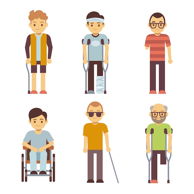Disabled people set. old and young invalid persons. Premium Vector