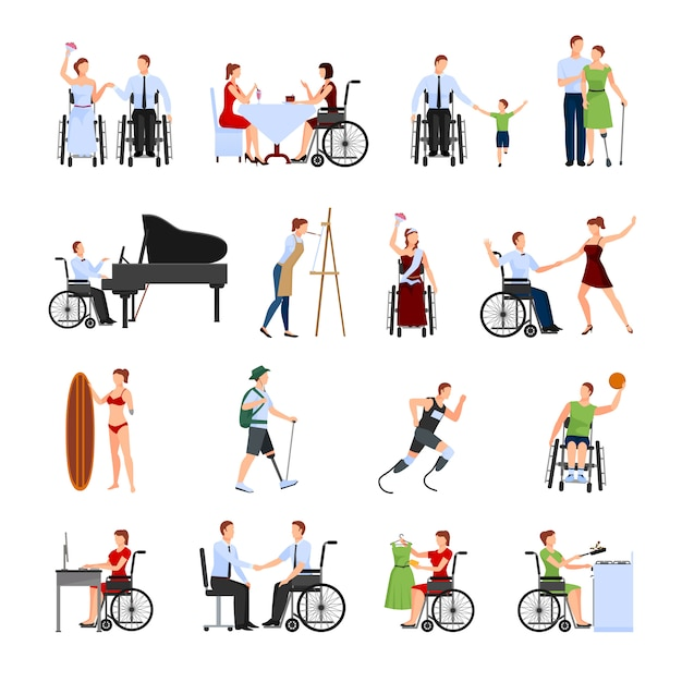 Disabled people set Free Vector