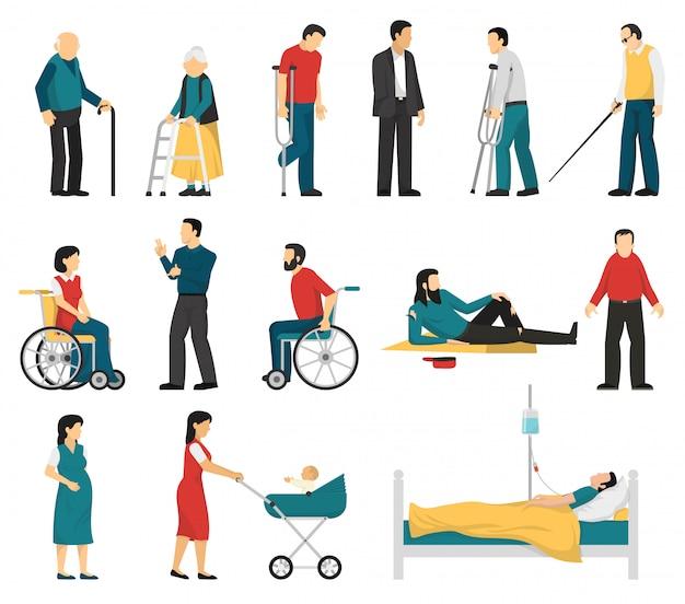 Set di persone disabili Vettore gratuito