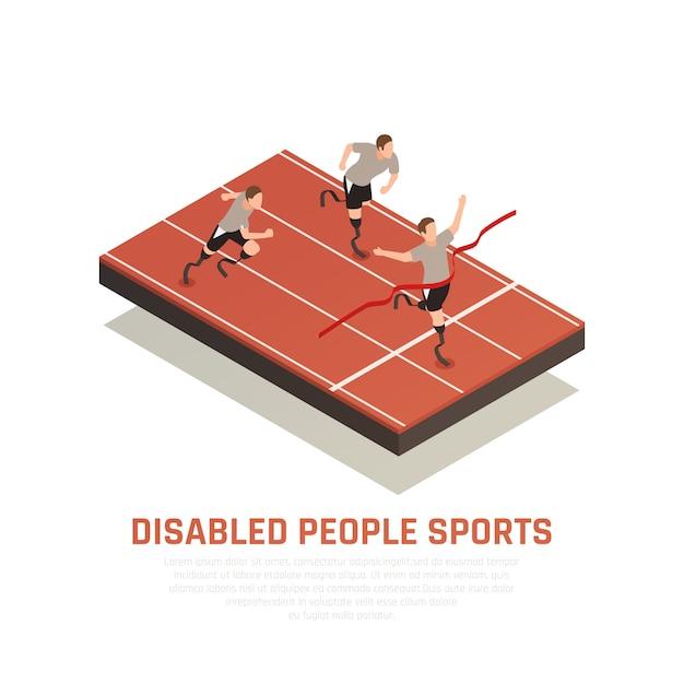 Инвалиды спортивной изометрической композиции с 3 бегунами-протезами, которые пересекают финишную черту. Бесплатные векторы