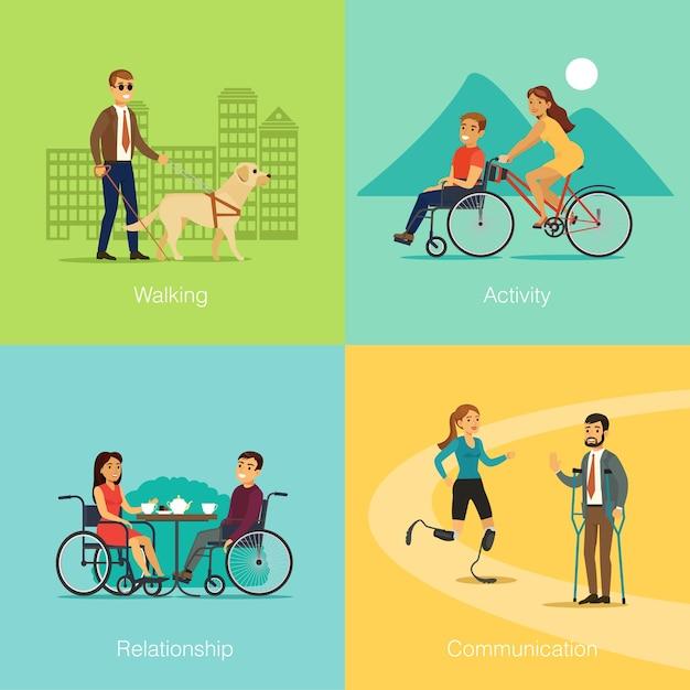 Persone disabili square concept Vettore gratuito