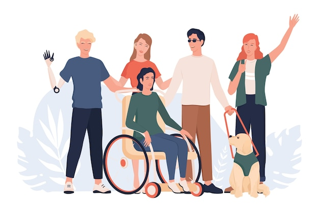 Disabled people standing together. disabled people living active life concept, ableism and devirsity. people with prosthesis and in wheelchair, deaf-mute and blind. Premium Vector